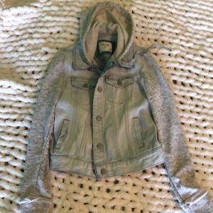 acid washed jean jacket hoodie